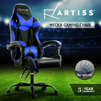 PU Leather Racing Office Chair Sport Executive Computer Home Work Black Blue 74