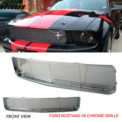 Fits 05-09 Ford Mustang V6 Chrome Hood Grille Grill Billet