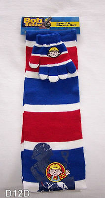 Bob The Builder Boys Blue Red White Stripe Beanie Scarf & Gloves Set New