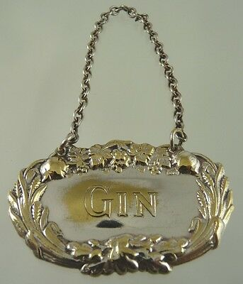 GIN with GRAPE, LEAF & WHEAT BORDER DECANTER LABEL BY unknown