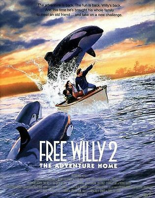 """FREE WILLY 2 THE ADVENTURE HOME 1995 Original DS 2 Sided 27x40"""" Movie Poster"""