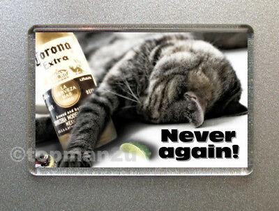 New, Quality Fridge Magnet, Funny Cat, NEVER AGAIN! Beer, Hangover, Drunk - Cute