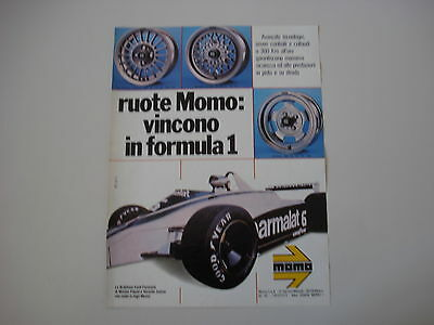 advertising Pubblicità 1980 MOMO e BRABHAM FORD PARMALAT