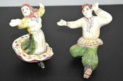 Couple De Danseurs Costumes Russes Ceramique 1930/50 Signes Collection Vitrine