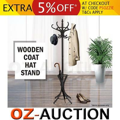 Tree Style 12 Hooks Hat Coat Clothes Rack Wooden Umbrella Stand Walnut Base Ring
