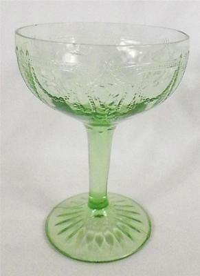 Cameo Ballerina Tall Sherbet Champagne Goblet Green Depression Glass SMALL CHIP