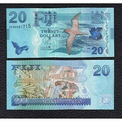 Fiji P-117 ND 20 Dollars , w/Sea Gull - Crisp Uncirculated