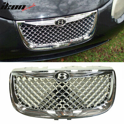 Fits 99-04 Chrysler 300M Diamond Chrome Mesh Hood Grille With Emblem - ABS