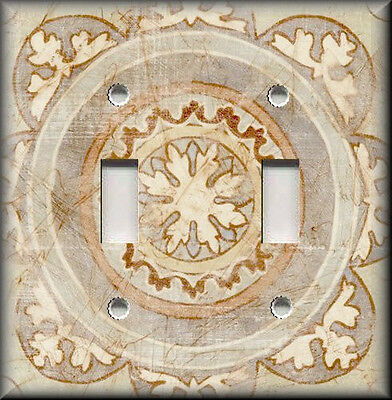 Metal Light Switch Plate Cover Old World Decor Tuscan Distressed Medallion Tan
