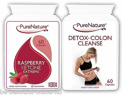 60 Raspberry Ketone Extreme & 60 Detox Colon Cleanse Fat Weight Loss Diet Pills