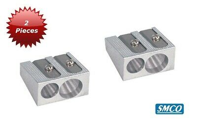 Qty 2 Smco Pencil Sharpeners  Double Dual 2 Hole Size Metal