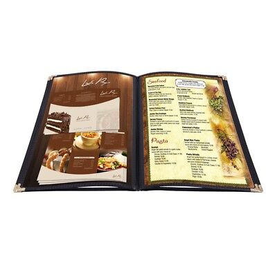 "20 Menu Cover 8.5x11"" 4 Page 8 View Restaurant Deli Cafe Black Fold Clear Volume"