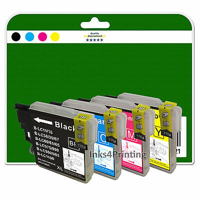 4 Ink Cartridges for Brother DCP-J125 J140W J315W J515W non-OEM LC985