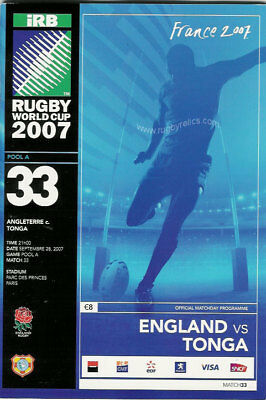 ENGLAND v TONGA RUGBY WORLD CUP 28 Sep 2007 PROGRAMME, PARIS