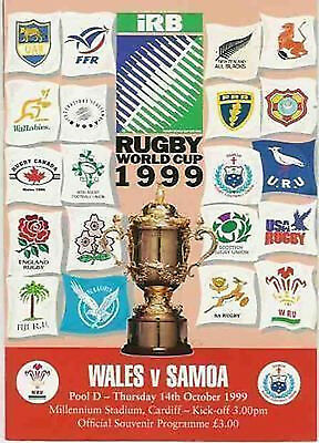 WALES v SAMOA 14th OCTOBER 1999 RUGBY WORLD CUP PROGRAMME