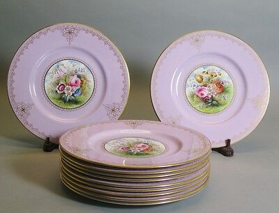 Superb Set of 11 Hand-Painted Spode Floral Cabinet Plates c. 1930  Signed Wood