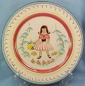 Stangl Kiddieware Mistress Mary Quite Contrary Plate Childs Pottery Vintage EX