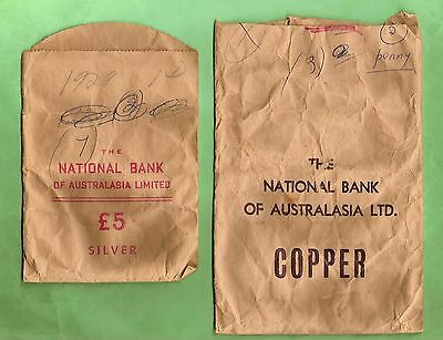 #d22.  Two Old National Australia Bank Paper Change Bags