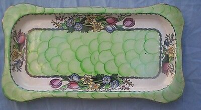 Maling Springtime pattern dressing table tray 6524 Green ground  (T2)