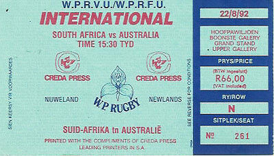 SOUTH AFRICA v AUSTRALIA 1992 RUGBY TICKET