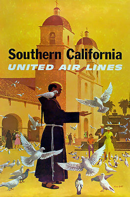 TX163 Vintage Southern California Airline Airways Travel Art Poster Re-Print A4