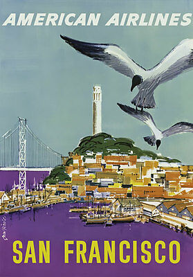 TX172 Vintage San Francisco American USA Airline Travel Poster Re-Print A4