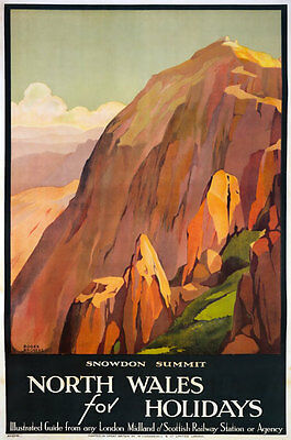 TX173 Vintage North Wales Snowdon LMS Railway Travel Tourism Poster Re-print A3