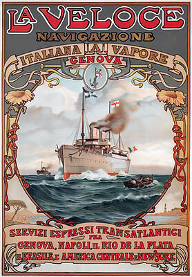 TX193 Vintage La Veloce Italian Italy Liner Shipping Travel Poster Re-Print A4
