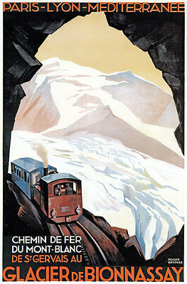 TX192 Vintage Glacier De Bionassay French France Travel Poster Re-Print A1/A2/A3