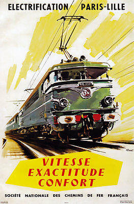 TX198 Vintage Paris-Lille French Electric Railway Travel Poster Re-Print A2/A3