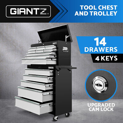 Giantz 14 Drawers Tool Box Chest Cabinet Mechanic Trolley Roller Toolbox storage