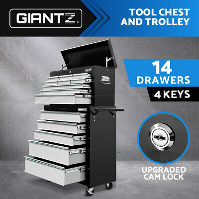 Giantz 14 Drawers Tool Box Chest Toolbox Cabinet Trolley Boxes Storage Grey