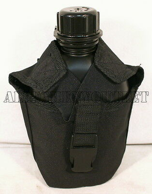 Genuine US Military BLACK 1QT Canteen w Molle 1 Quart INSULATED COVER Black New