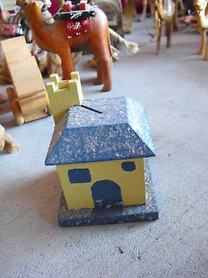 Vintage 1936 Dated Wood Handmade House Building Bank  LOOK