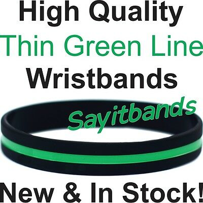 Thin Green Line Wristband - Silicone Band Adult Child Sizes Available, In Stock