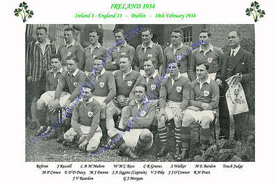 "IRELAND 1934 (v England ) 12"" x 8"" RUGBY TEAM PHOTO PLAYERS NAMED"