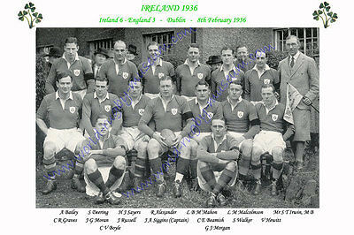 "IRELAND 1936 (v England ) 12"" x 8"" RUGBY TEAM PHOTO PLAYERS NAMED"