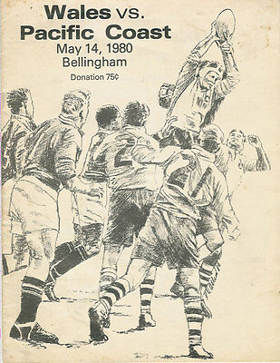WALES 1980 RUGBY TOUR PROGRAMME v PACIFIC COAST 14 May at Bellingham