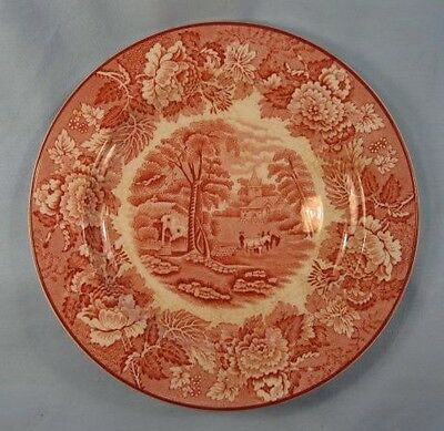 Vintage Pink English Scenery Dessert Pie Plate Enoch Wood Pink Stamp AS IS (O)