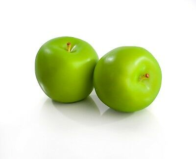 2 Best Artificial Large Green Apples Decorative Realistic Plastic Fruit Bowl New