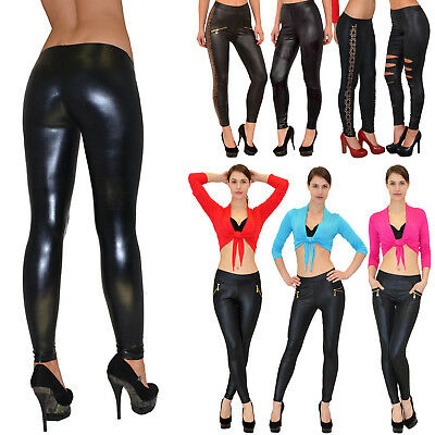 Damen Leggings Legging Leggins Legings Hose Leder Optik Glanz Top Modelle