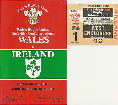 WALES v IRELAND 1989 RUGBY PROGRAMME & TICKET