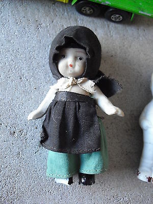 "Small Vintage 1950s Bisque Dollhouse Girl Doll 3 1/2"" Tall"