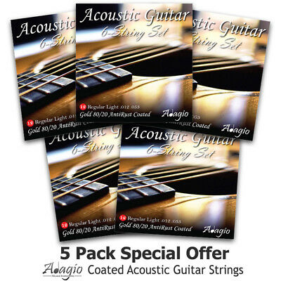 ACOUSTIC Guitar Strings Coated Bronze Light Gauge 12 by Adagio 4 SETS +1 FREE