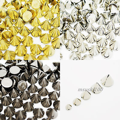 Spikes Sew On Stud Metal Plated Acrylic Leathercraft Bags Shoe Belt Gold Silver