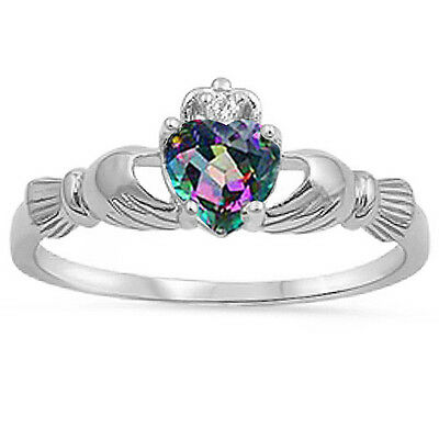 IRISH CLADDAGH Rainbow Colored Topaz Heart .925 Sterling Silver Ring Sizes 3-13