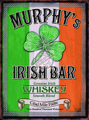 MURPHY'S IRISH BAR VINTAGE STYLE WHISKEY ADVERT PUB POOL CAVE METAL WALL SIGN