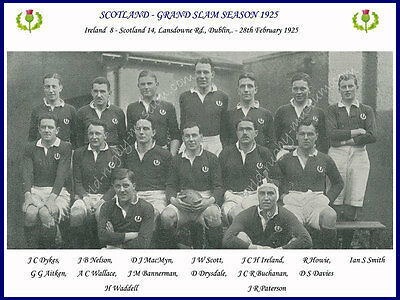 "SCOTLAND 1925 (v Ireland) 12"" x 8"" RUGBY TEAM PHOTO PLAYERS NAMED GRAND SLAM"