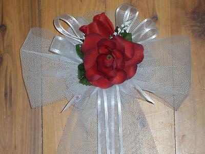 Wedding Party Decoration Church Pew Chair Bow  Red Roses