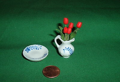Dollhouse Miniature Ceramic Pitcher with Red Roses & Under Plate 1:12 Scale